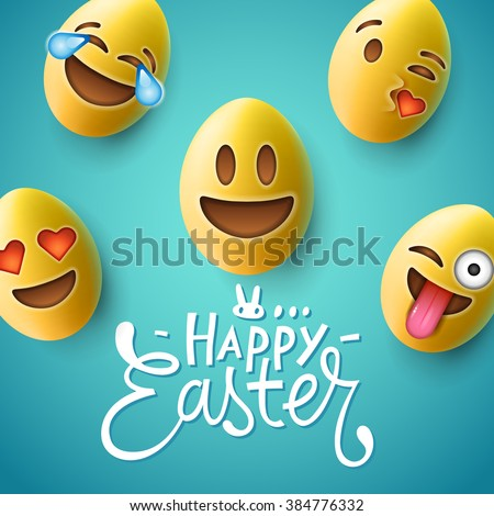 Happy Easter poster, easter eggs with cute smiling emoji faces, vector illustration. - stock vector