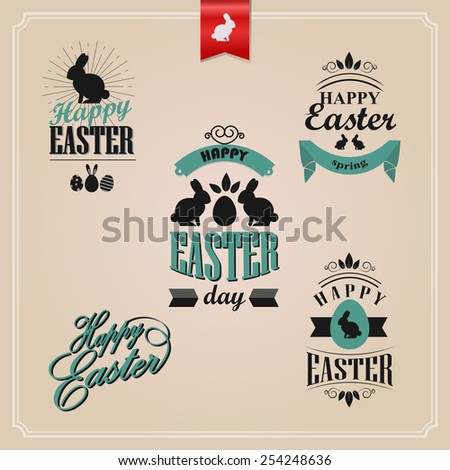 Happy Easter retro style calligraphic labels. Typography design elements set - stock vector