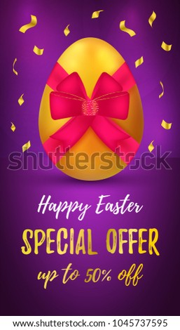 Happy easter sale banner special offer stock vector 1045737595 happy easter sale banner special offer up to 50 off message gold realistic negle Choice Image