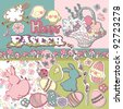 happy easter scrapbook set - stock vector