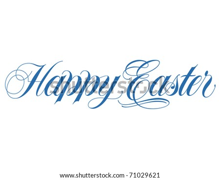 Happy Easter Script Vector Hand lettering - stock vector