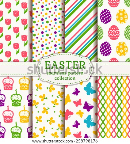 Happy Easter! Set of cute holiday backgrounds. Collection of colorful seamless patterns with traditional symbols. Vector illustration.