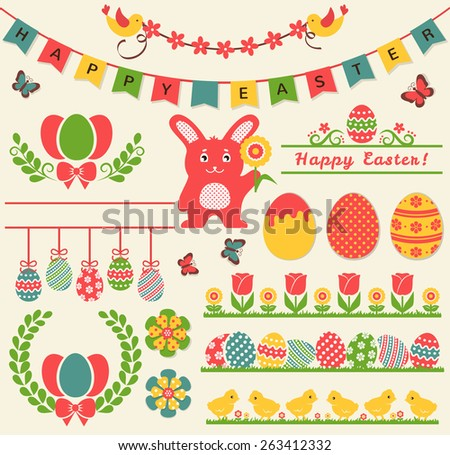 Happy Easter! Set of retro decorations isolated on light background. Collection of cute elements for scrapbooking, festive invitations, page and website decor or any other design. Vector illustration. - stock vector