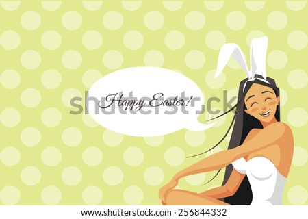 Happy easter. sexy Bunny - stock vector