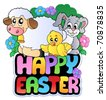 Happy Easter sign with animals - vector illustration. - stock vector
