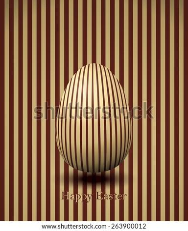 Happy Easter Striped Egg Card, Vector Illustration.  - stock vector