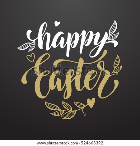 Happy easter text poster traditional easter stock vector 524663392 happy easter text poster traditional easter holiday vector illustration greeting card with hand drawn calligraphy m4hsunfo
