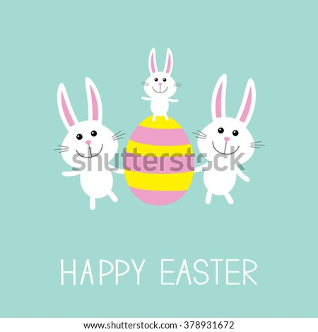 Happy Easter. Three bunny rabbit family and striped egg. Flat design. Vector illustration - stock vector