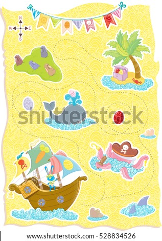 Happy Easter Treasure Map with cute animals,pirate bunny, whale,octopus,sharks,Treasure Island and the Easter Island