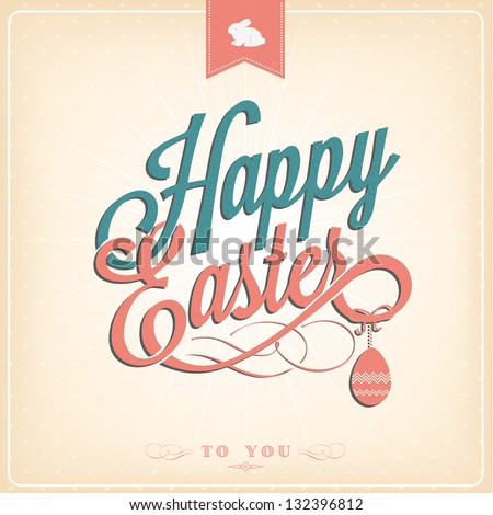 Happy Easter Typographical Background - stock vector