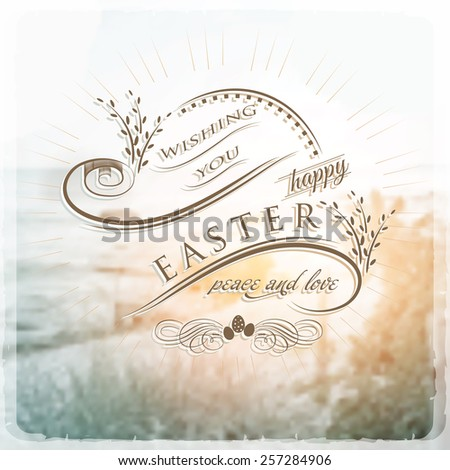 Happy Easter Typographical on blurred Background vintage retro style - stock vector