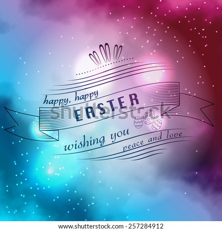 Happy Easter Typographical on bright sky Background with stars  - stock vector
