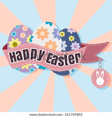 Happy Easter Typographical soft Background vector format eps 10 - stock vector
