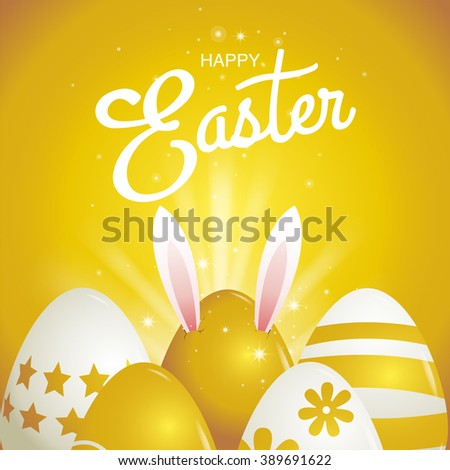 happy easter, Typography , gold background, eggs - stock vector