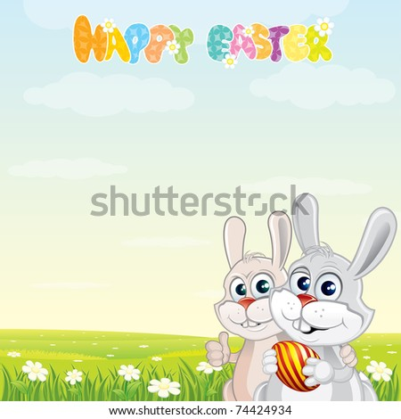 Happy Easter, vector card with cute cartoon Rabbits on sunny spring meadow - stock vector