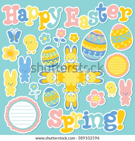 Happy Easter. Vector cartoon illustration. Stickers. Bunny, egg, flower, text