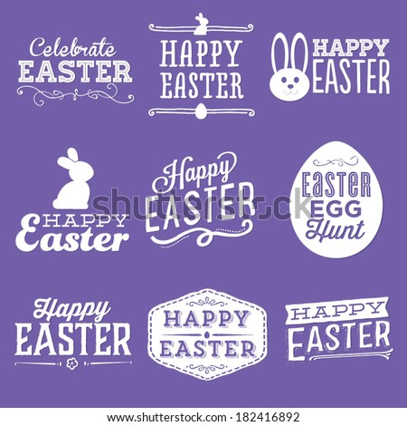 Happy Easter Vector Set | Easter Egg Hunt | Celebrate Easter | Bunny Rabbit - stock vector