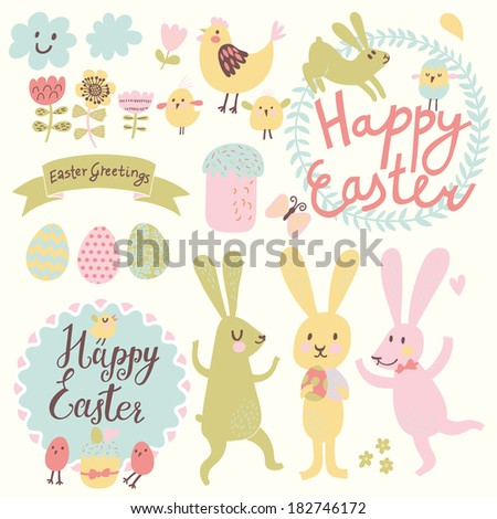 Happy Easter vector set in vector. Funny rabbits, eggs, chicken, text, tasty cake in stylish colors. Concept holiday spring cartoon collection - stock vector
