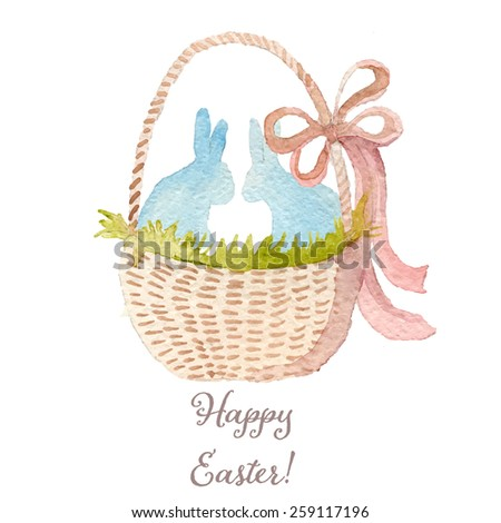 Happy Easter watercolor basket with bunnies. Hand drawn vectorized, eps10 - stock vector