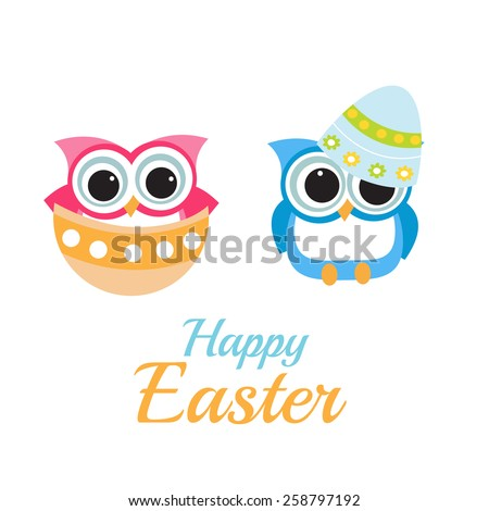 Happy Easter with Cute Owls. - stock vector