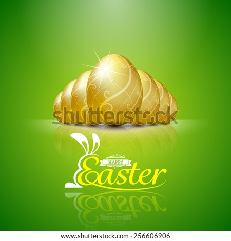 Happy easter with golden eggs.Hand lettering.vector illustration Background - stock vector