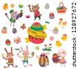 Happy Easter with many graphical elements - stock photo