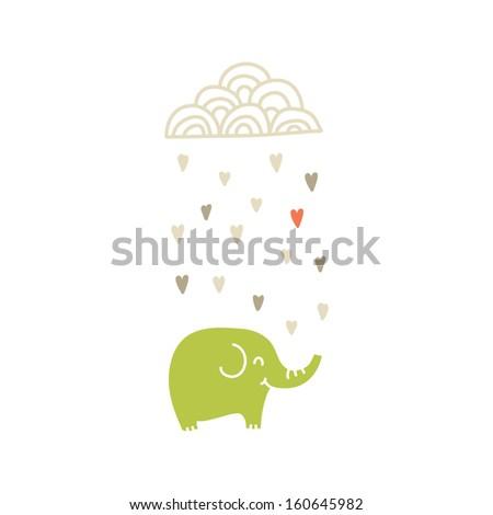 Happy Elephant under raining cloud , vector illustration - stock vector