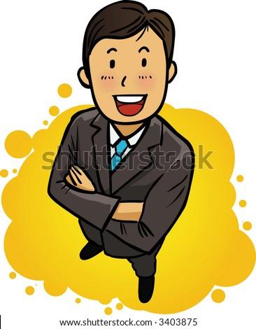 happy energetic businessman - stock vector