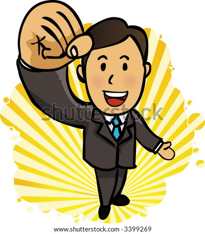 happy energetic businessman with his arms raised. - stock vector