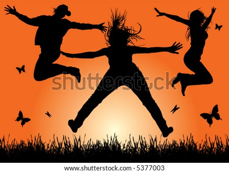 happy energetic woman silhouettes jumping into the air (vector) - stock vector