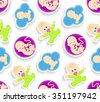 Happy event. Pregnancy. Planning. Seamless texture. Baby pattern, background, wallpaper.  - stock vector