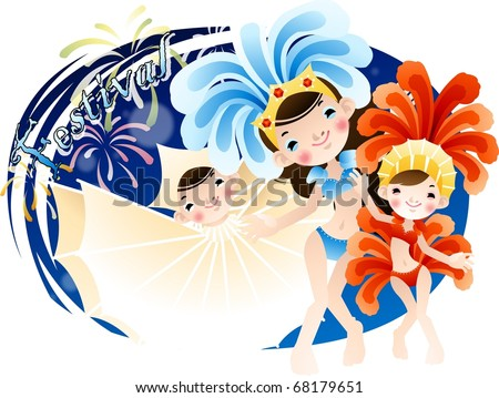 Happy Event with Attractive People - enjoying traditional big party with beautiful cute females on a background of fantastic night blue sky : vector illustration - stock vector