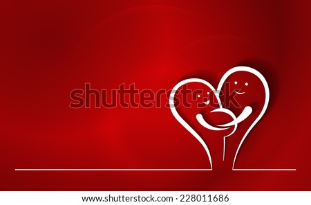 Happy Expecting Parents Line Drawing. Two abstract line characters in love, with pregnant woman and man holding her, creating a heart shape. Colorful red background. - stock vector