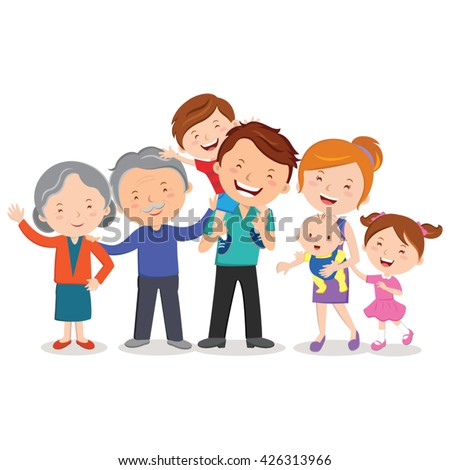 Happy extended family. Happy extended family gesturing with cheerful smile. - stock vector