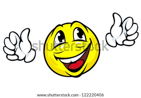 Happy face icon with hands in cartoon style. Jpeg version also available in gallery - stock vector
