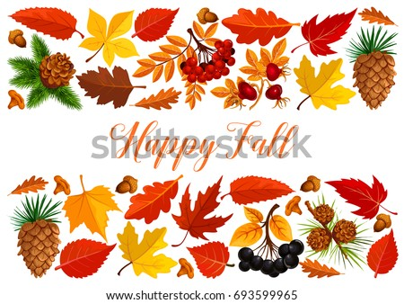 happy fall banner autumn leaf forest stock vector royalty free