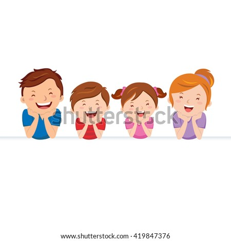 Happy family and banner. Vector illustration of happy family and banner. - stock vector