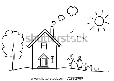 Happy family and their house. A children's sketch - stock vector