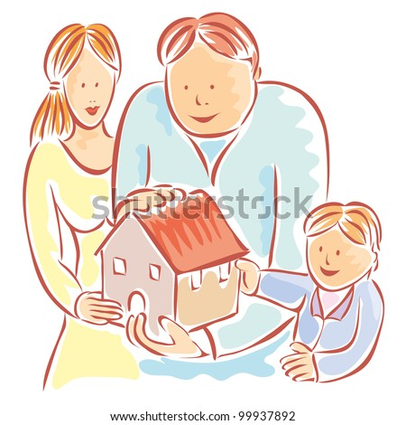 Happy family around his house. Home property concept - stock vector