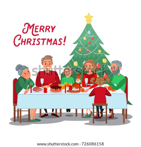 Happy Family Christmas Dinner With Grandparents Celebrating New Year Winter Holidays Vector Illustration