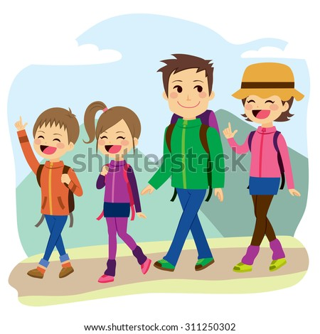 Happy family climbing mountain on a trip vacation day - stock vector