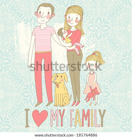 Happy family. Concept family background. Gentle card with mother, father, daughter, son and dog in vector - stock vector