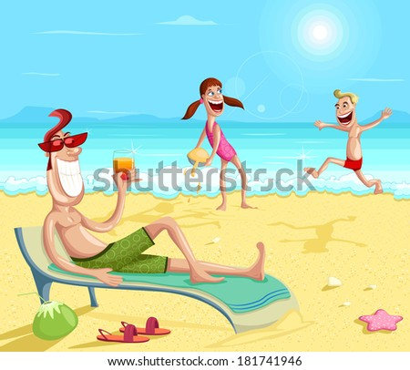 Happy family enjoying on beach during vacations - stock vector