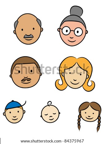 Happy family faces, parents, grandparents and children, vector illustration - stock vector