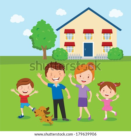 Happy family. Family and home. Vector illustration of a cheerful family standing in front of their house. - stock vector