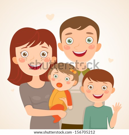 Happy family: father, mother, son and baby girl. - stock vector
