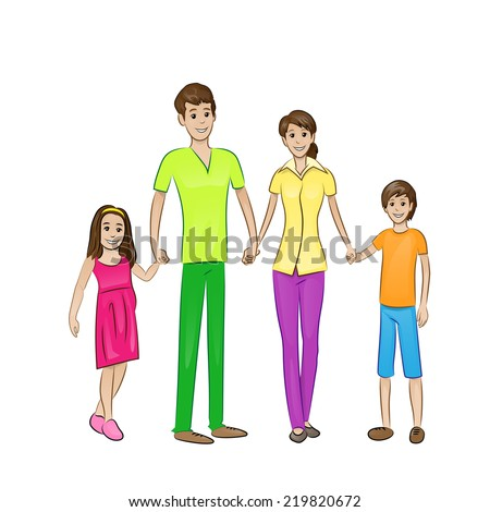 Happy family four people, parents with two children holding hands, vector illustration - stock vector