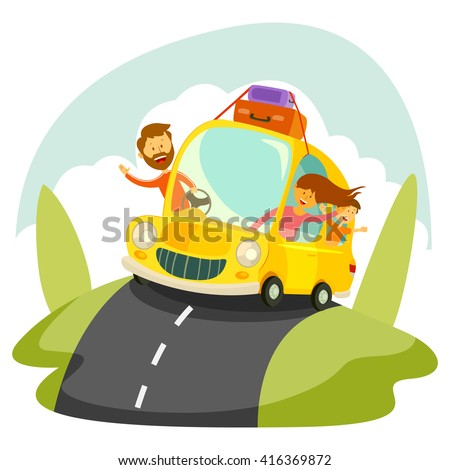 Happy family going for vacation in car in vector - stock vector
