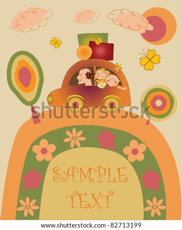 happy family going on holiday by car - stock vector