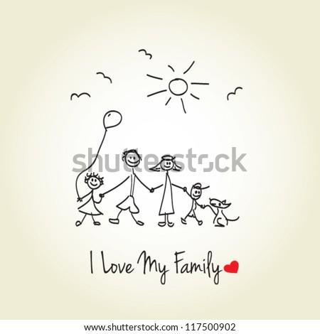 Happy family hand drawn vector illustration - stock vector